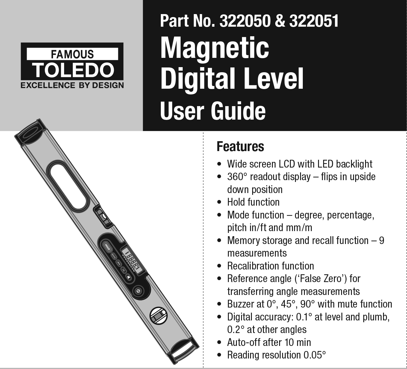 322050 & 322051 Magnetic Digital Level - User Guide