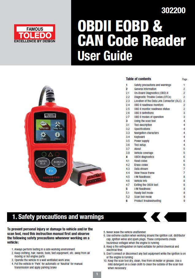 302200 - OBDII EOBD & CAN CODE READER